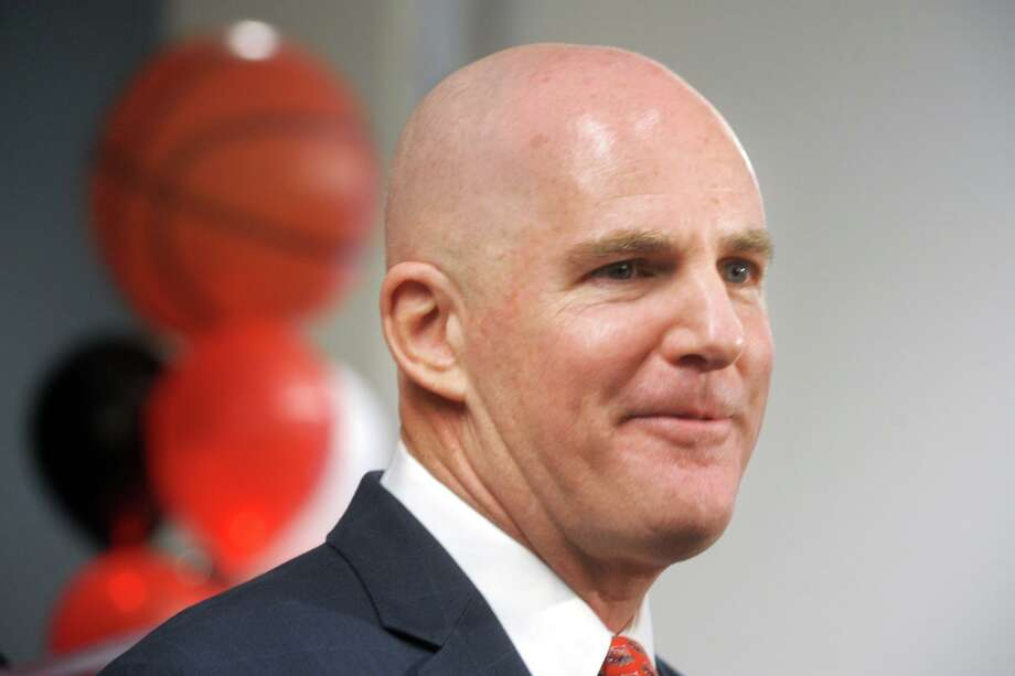 Jay Young was introduced as the new men's basketball coach at Fairfield University, in Fairfield, Conn. April 10, 2019. Photo: Ned Gerard / Hearst Connecticut Media / Connecticut Post