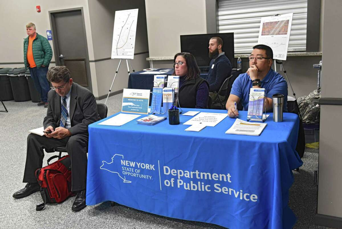 An information table is set up by the New York State Department of Public Service during a public hearing at East Greenbush Town Park on a proposed 7.3 mille long natural gas pipeline on Wednesday, April 10, 2019 in East Greenbush, N.Y. Pipeline E37 Reliability and Resiliency Project would run from Bethlehem through East Greenbush to North Greenbush. (Lori Van Buren/Times Union)