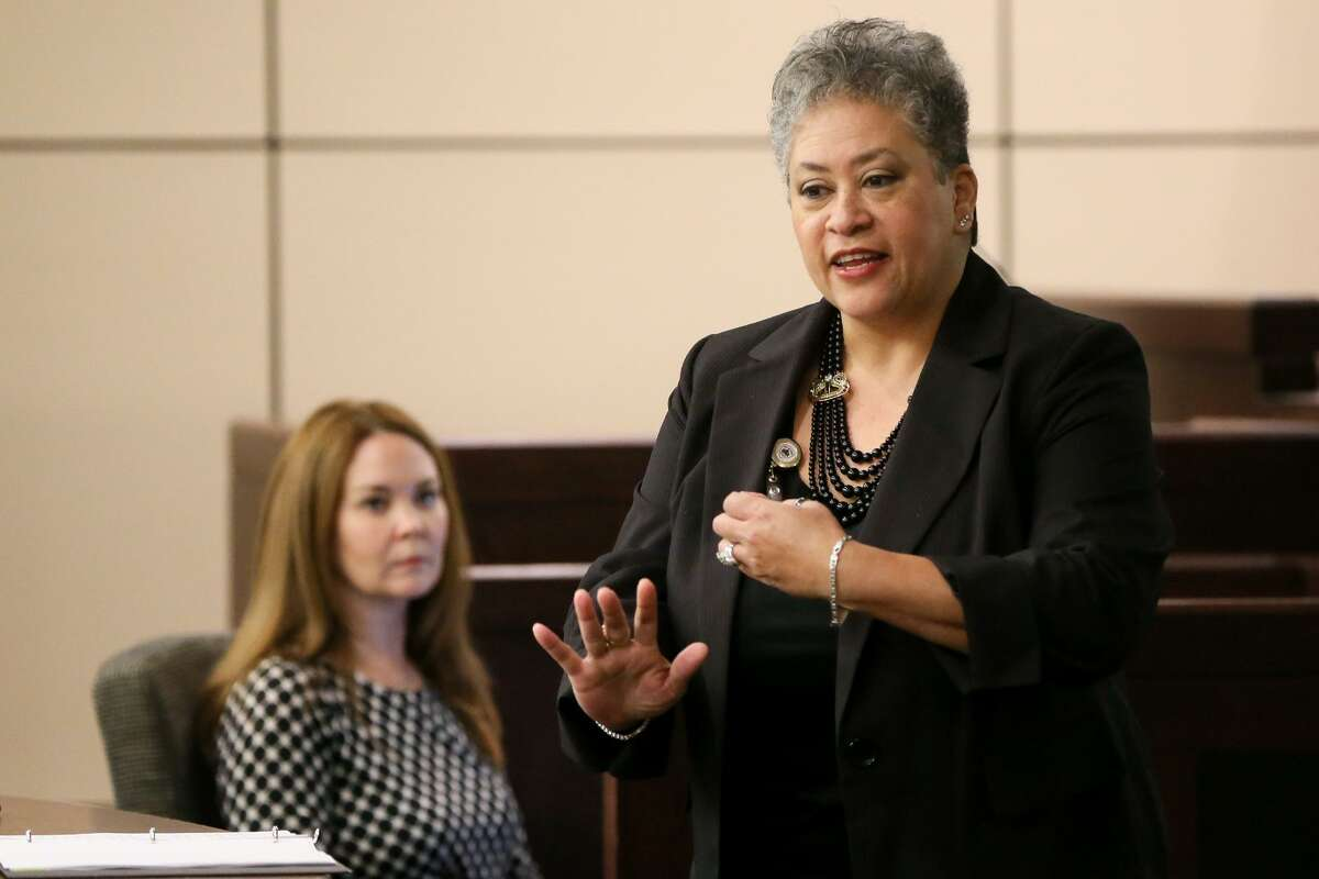 Prosecutor Talia Triesch gives opening statements to the jury in the trial of Laura Flores-Messick in the 175th state District Court, Cadena-Reeves Justice Center on Wednesday, April 10, 2019. Flores-Messick is accused of brutally shooting and stabbing her boyfriend, Chason Montez DeOca, who was an Iraq War veteran, on June 10, 2017.