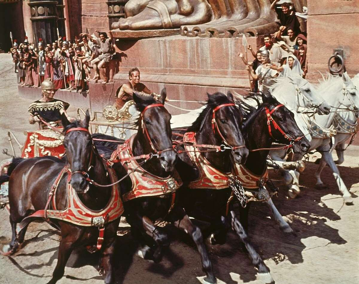 """BEN HUR: Charlton Heston and epic """"Ben Hur"""" will hit the big screen again when the film gets a special Sunday, April 14, and Wednesday, April 17, run at select theaters in the state, including Cinemark North Haven, 550 Universal Drive, at 1 and 6 p.m. Presented in its super-wide-screen """"Ultra 65"""" format for optimum viewing, the film runs 3 hours 40 minutes with an intermission. See Fathomevents.com."""