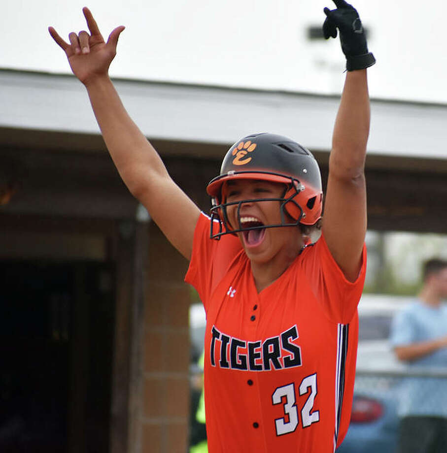 Edwardsville shortstop Maria Smith celebrates after hitting a two-run home run in the fourth inning. Photo: Matt Kamp/The Intelligencer