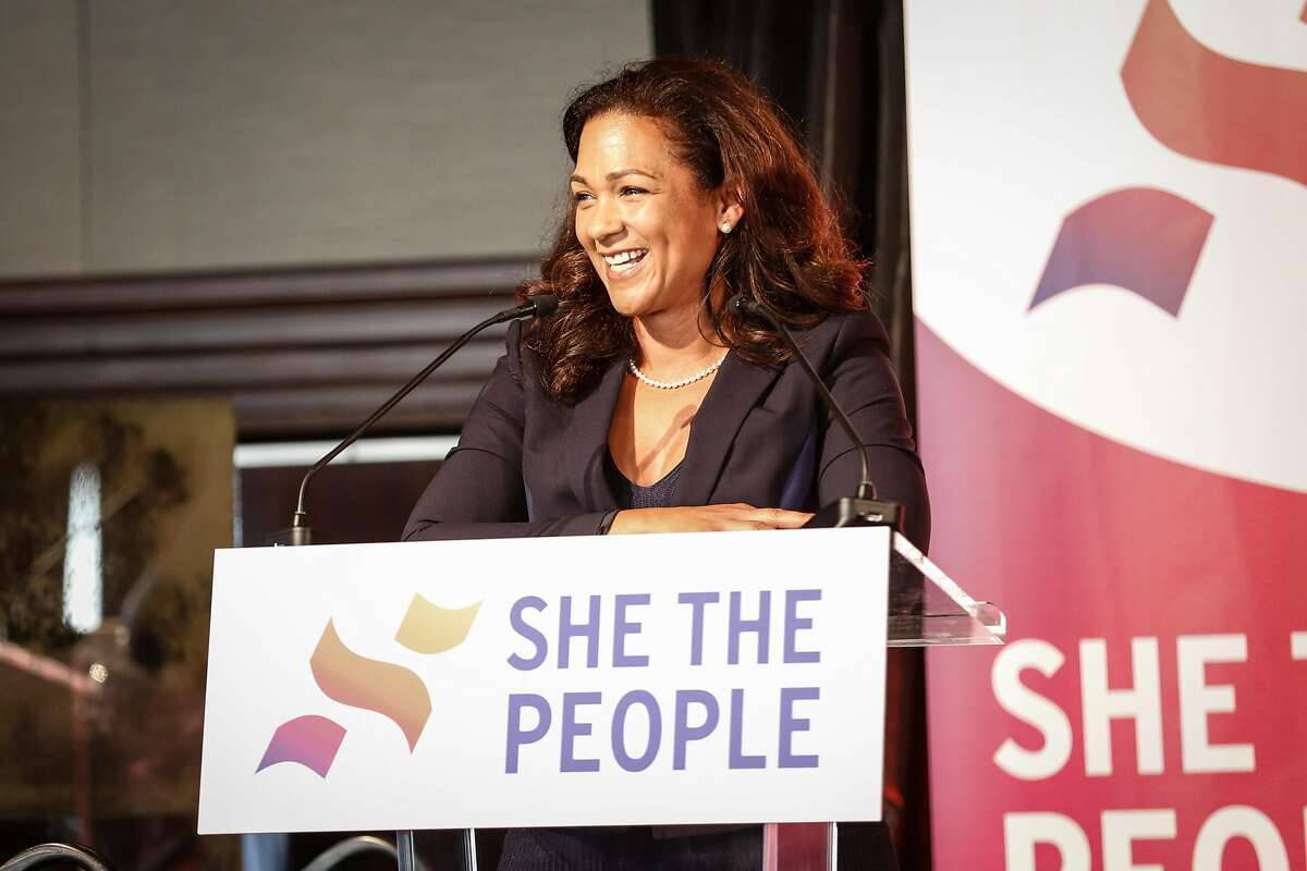 Aimee Allison, founder of She the People, speaks during the She the People, a national women of color in politics, summit on Thursday, September 20, 2018 in San Francisco, Calif.