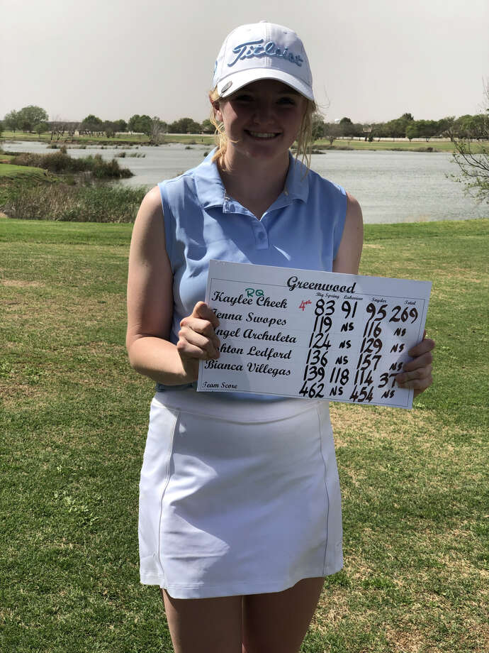 Greenwood's Kaylee Cheek holds up her team's scorecard after finishing fourth at the District 5-4A Girls Golf Tournament to qualify for regionals, Wednesday in Snyder. Photo: Courtesy Photo