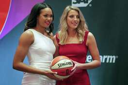 UConn's Napheesa Collier, left, and Katie Lou Samuelson pose for a photo before the WNBA draft on Wednesday night in New York.