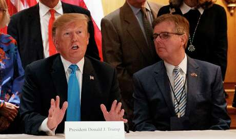 President Donald Trump at a fundraiser in San Antonio on Wednesday, April 10, 2019, with Texas Lt. Gov. Dan Patrick.