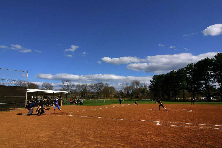 Softball action between Mercy and Jonathan Law in Milford, Conn., on Wednesday April 10, 2019. Photo: Christian Abraham / Hearst Connecticut Media / Connecticut Post
