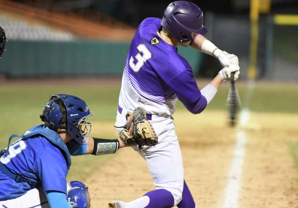 Ballston Spa's Luke Gold hits a home run during a game against Shaker at Hudson Valley Community College in Troy, N.Y., on Wednesday, Apr. 10, 2019. (Jenn March, Special to the Times Union)