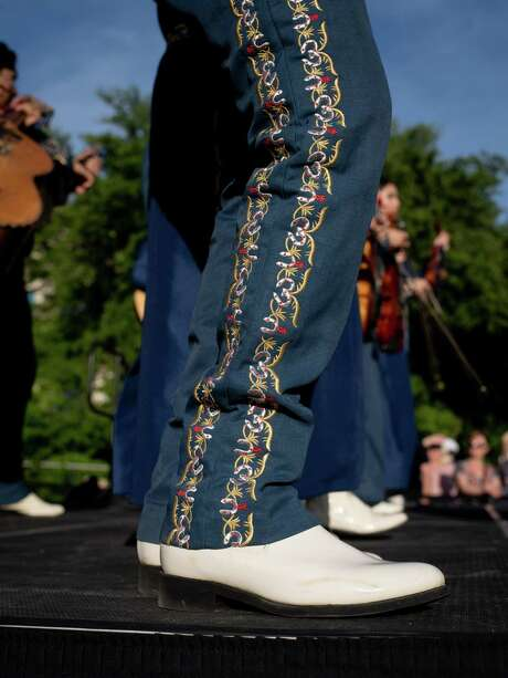 The Mariachi band from Jefferson High School, where Julian Castro graduated, play onstage during a rally for Democratic Presidential hopeful Julian Castro at Hemisfair Park in downtown San Antonio, Texas on Wednesday, April 10, 2019.