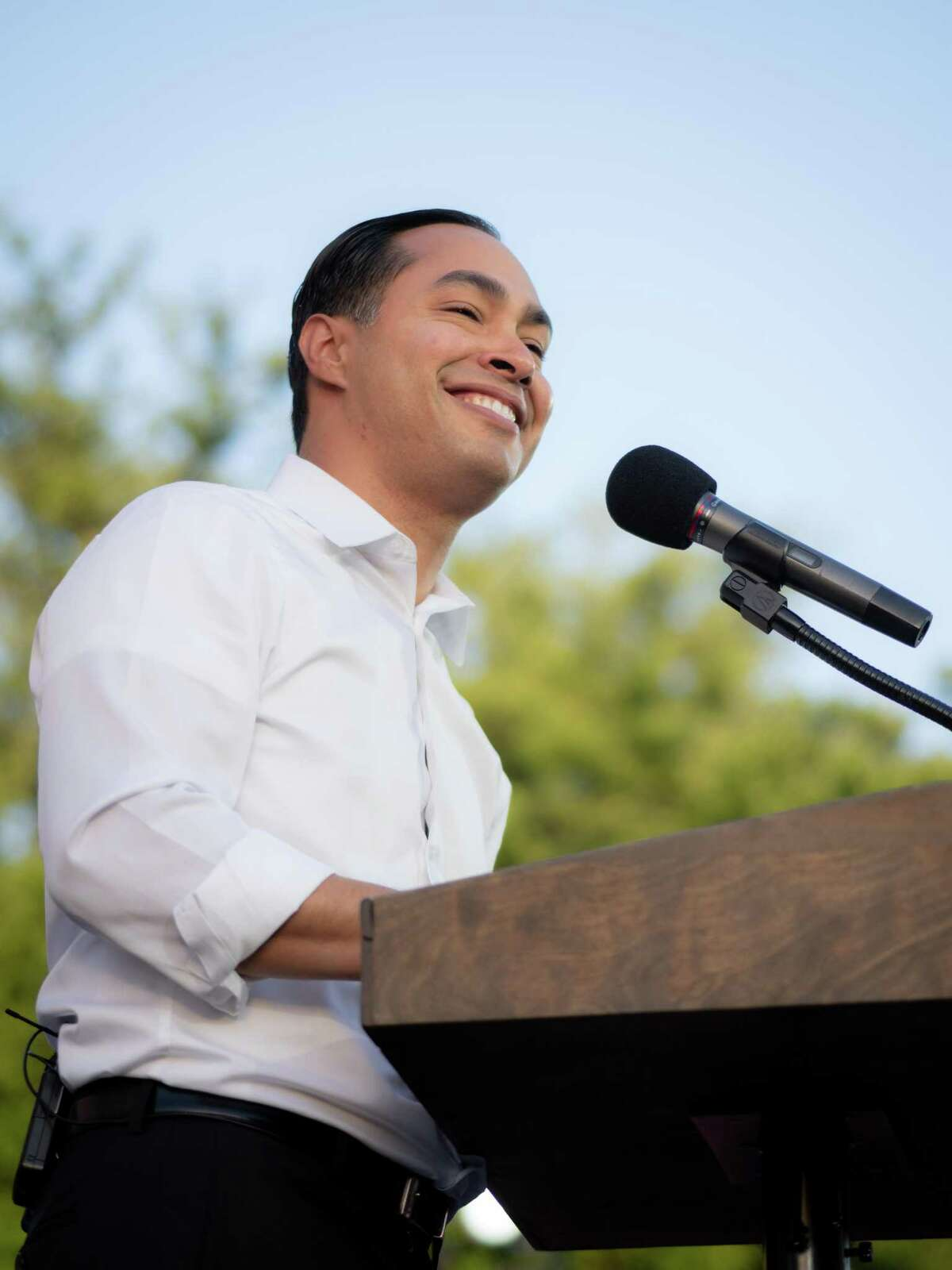"""Democratic Presidential hopeful Julian Castro speaks during his """"People First Rally"""" at Hemisfair Park in downtown San Antonio, Texas on Wednesday, April 10, 2019."""