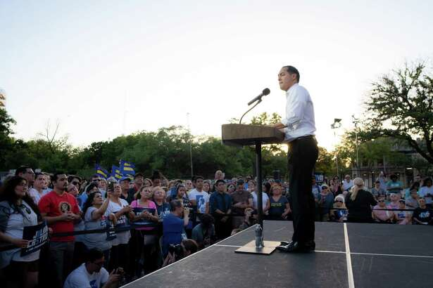 """Democratic Presidential hopeful Julian Castro speaks during his """"People First Rally"""" at Hemisfair Park in downtown San Antonio, April 10. A reader questions whether Castro is running for president of the U.S. or for Central America."""