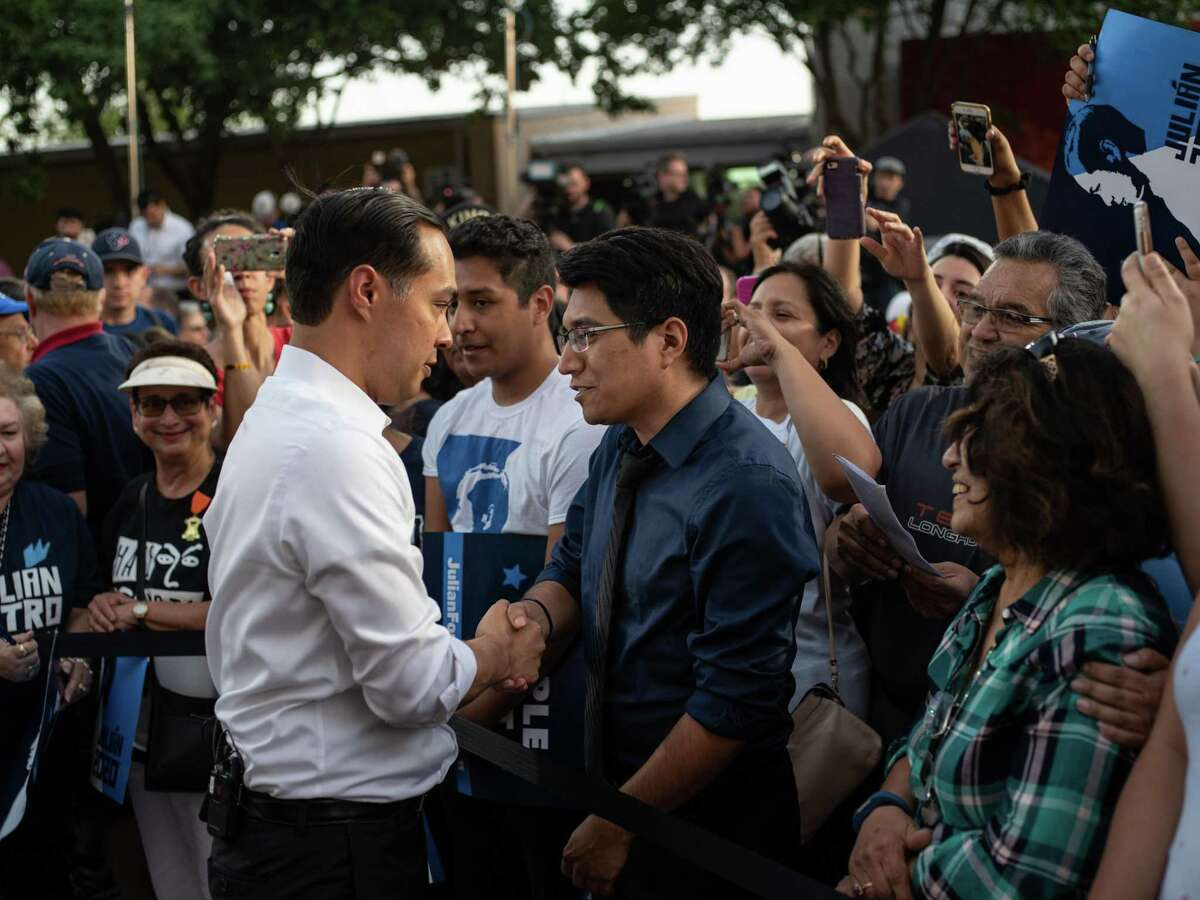 """Democratic presidential hopeful Julián Castro speaks to supporters at his """"People First"""" rally Wednesday at Hemisfair Park."""