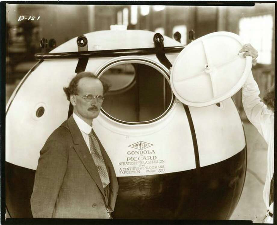 Jean Piccard with Dow's Magnesium Gondola used at Century of Progress, in Chicago, 1933. (Photoprovided/Midland County Historical Society)