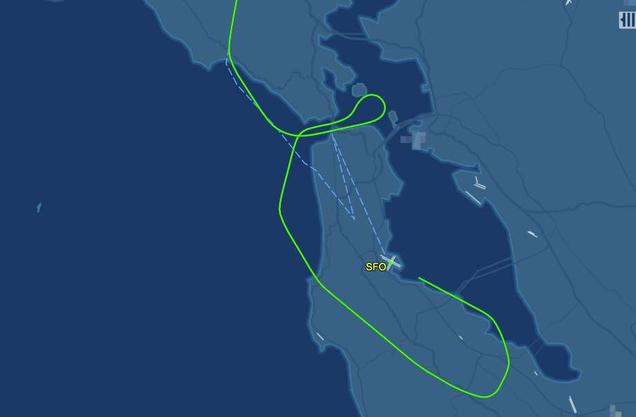 Air Italy's crazy spaghetti noodle inaugural approach to SFO included flying low and slow across the Golden Gate Bridge and over the city. Photo: FlightAware.com