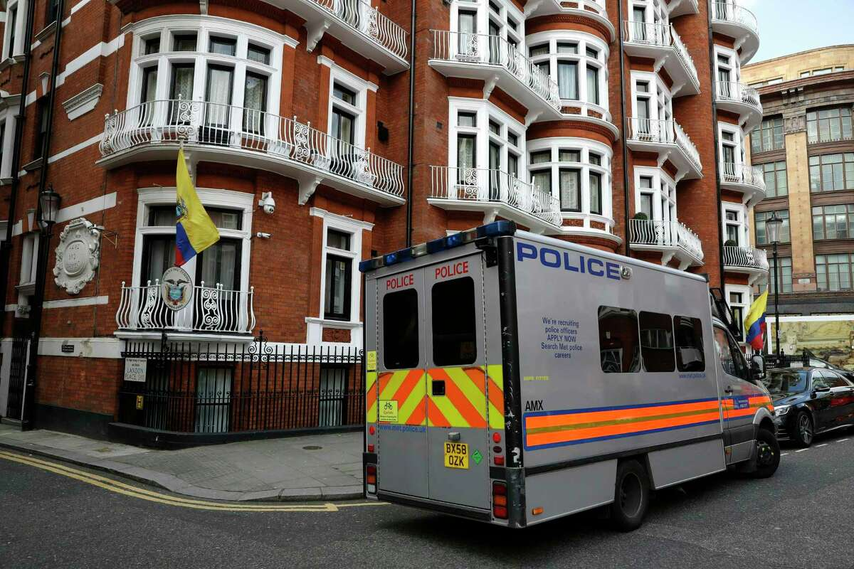 Asylum To avoid extradition, he remained at a London embassy. In 2012,former Ecuadorean president Rafael Correa, a radical Left Wing politician, granted him asylum at their embassy in London (pictured here).