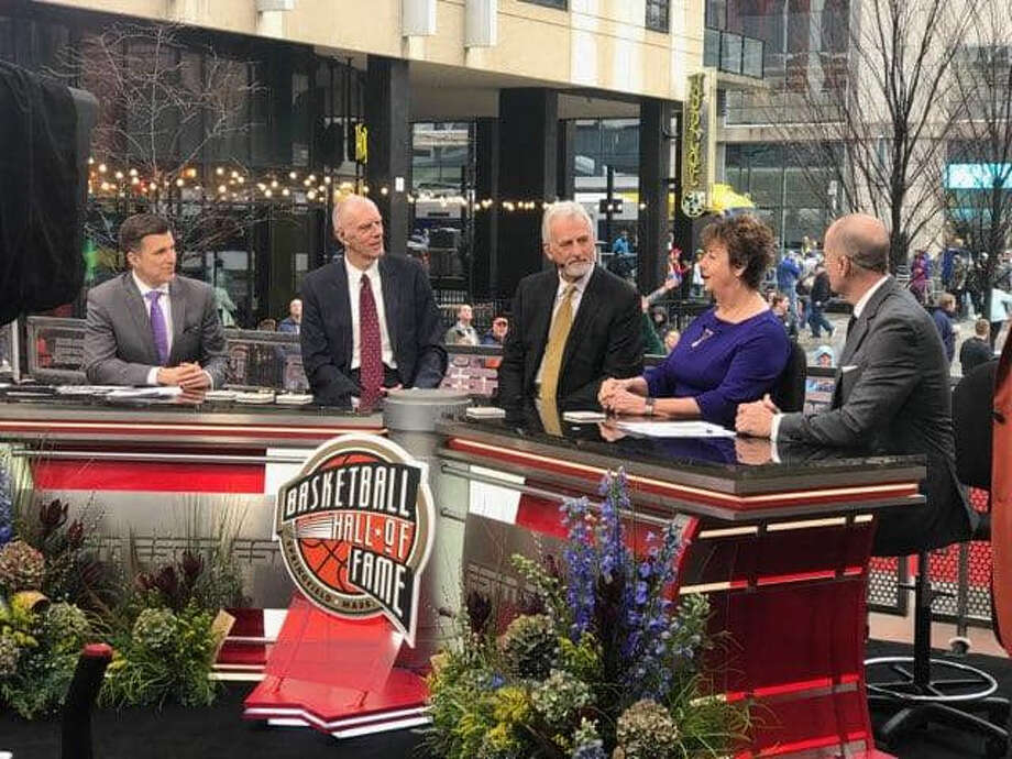 Linda Price, President of the Flying Queens Foundation, was on the set at the Naismith Memorial Basketball Hall of Fame induction show on ESPN last Saturday, April 6. Price represented the Flying Queens program from 1948-82 that was inducted into the Hall of Fame. Photo: Courtesy Photo