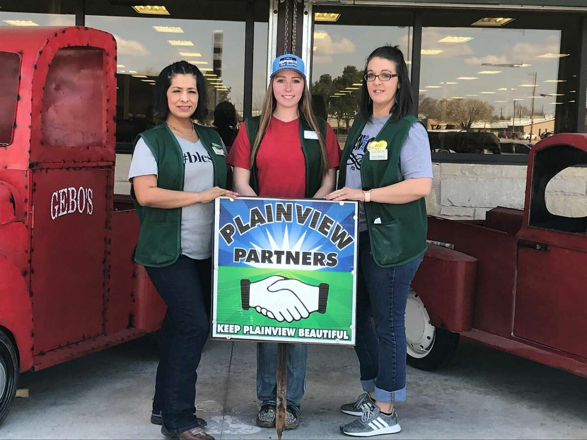 The April Keep Plainview Beautiful awards have been distributed. The recipients are as follows: Recycling - Hale County Courthouse Keep Plainview Beautiful Partners - Gebo's Beautification - Burger King (this photo)Gebo's - L-R: Elaine Perez, Mirl Still and Gretta Ballard
