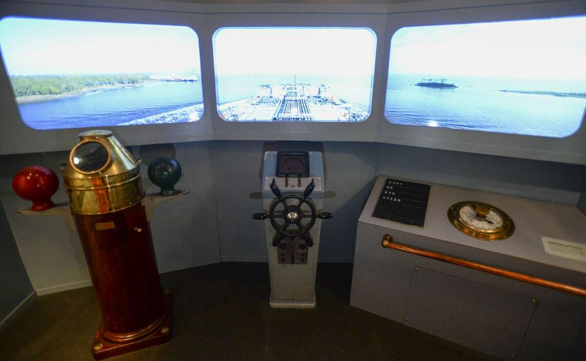 This display along with video shows the view from a tanker up the SabineÐNeches Waterway. Photo taken on Tuesday, 03/05/19. Ryan Welch/The Enterprise