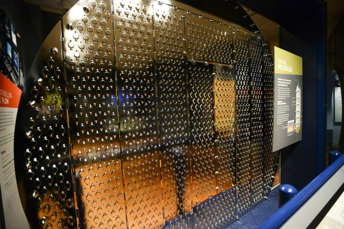 Shown here is a distillation tray in the Texas Energy Museum. A distillation tray is used in the refinery process with as many as 45 of them, spaced three feet apart, separating crude oil. Photo taken on Tuesday, 03/05/19. Ryan Welch/The Enterprise