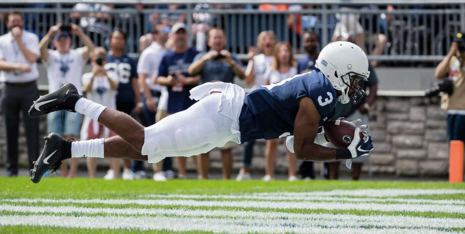 PHOTOS: New Era's official 2019 NFL Draft caps  STATE COLLEGE, PA - SEPTEMBER 15: DeAndre Thompkins #3 of the Penn State Nittany Lions catches a pass for a touchdown against the Kent State Golden Flashes during the first half at Beaver Stadium on September 15, 2018 in State College, Pennsylvania.  (Photo by Scott Taetsch/Getty Images) >>>See the caps that will be worn by players at the 2019 NFL Draft ...  Photo: Scott Taetsch/Getty Images / 2018 Getty Images