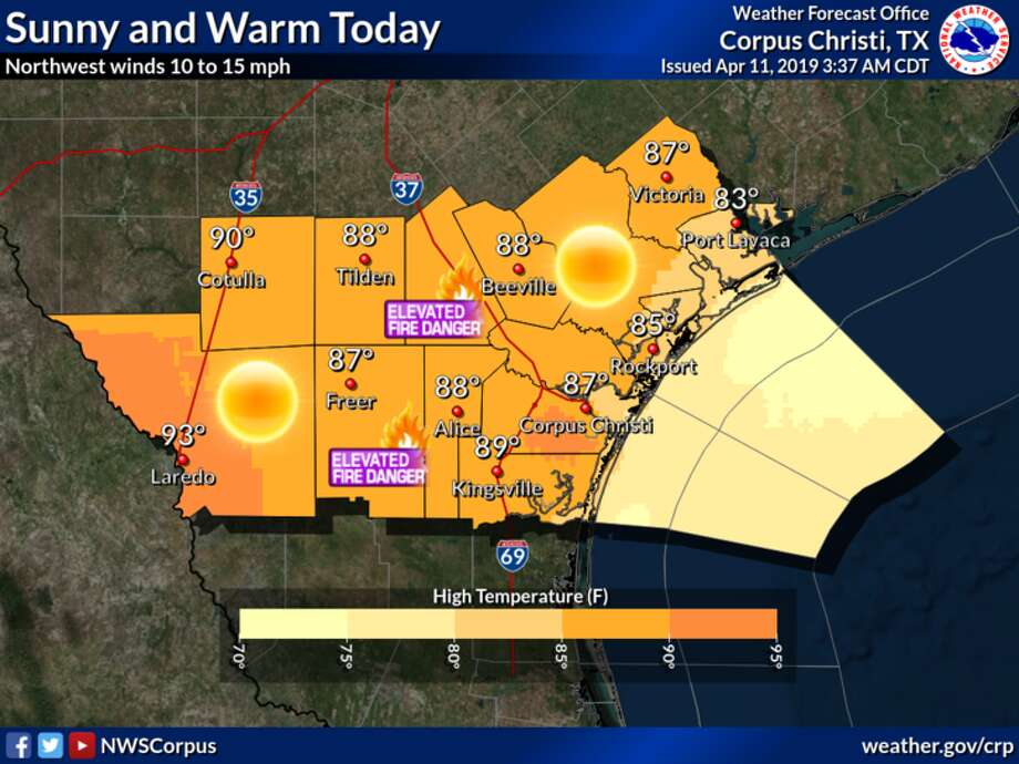 Weather is forecast to be sunny and warm on Thursday as a dry front moves through the Laredo area. Photo: National Weather Service
