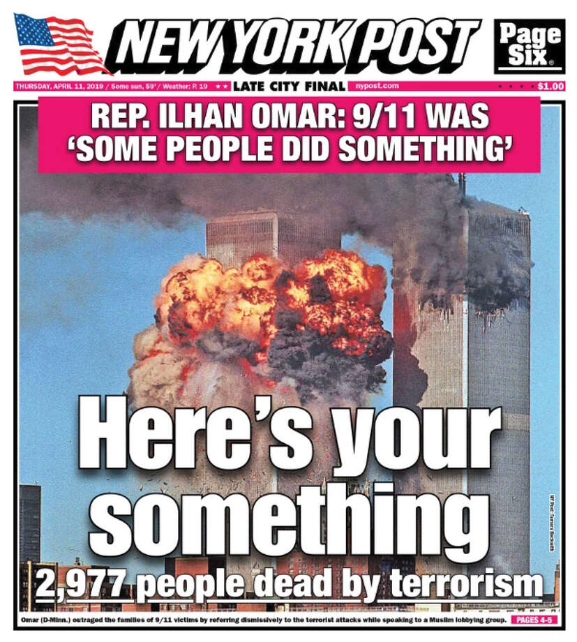 The front page of the New York Post on April 11, 2019 in response to comments by U.S. Rep. Ilhan Omar. Photo: New York Post