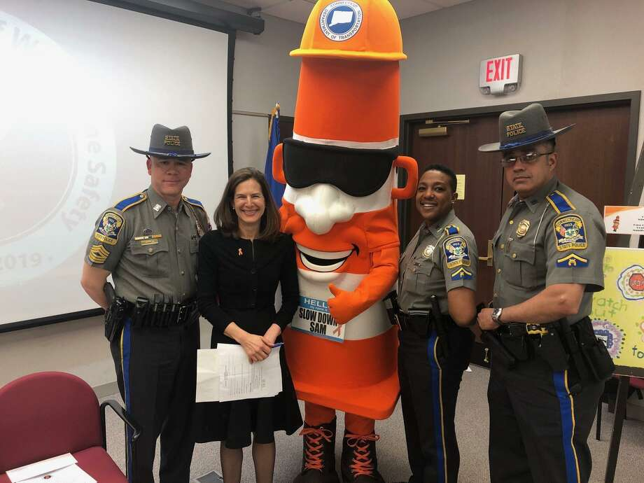 Slow Down Sam is part of a Connecticut Department of Transportation work zone safety initiative. Photo: DOT /