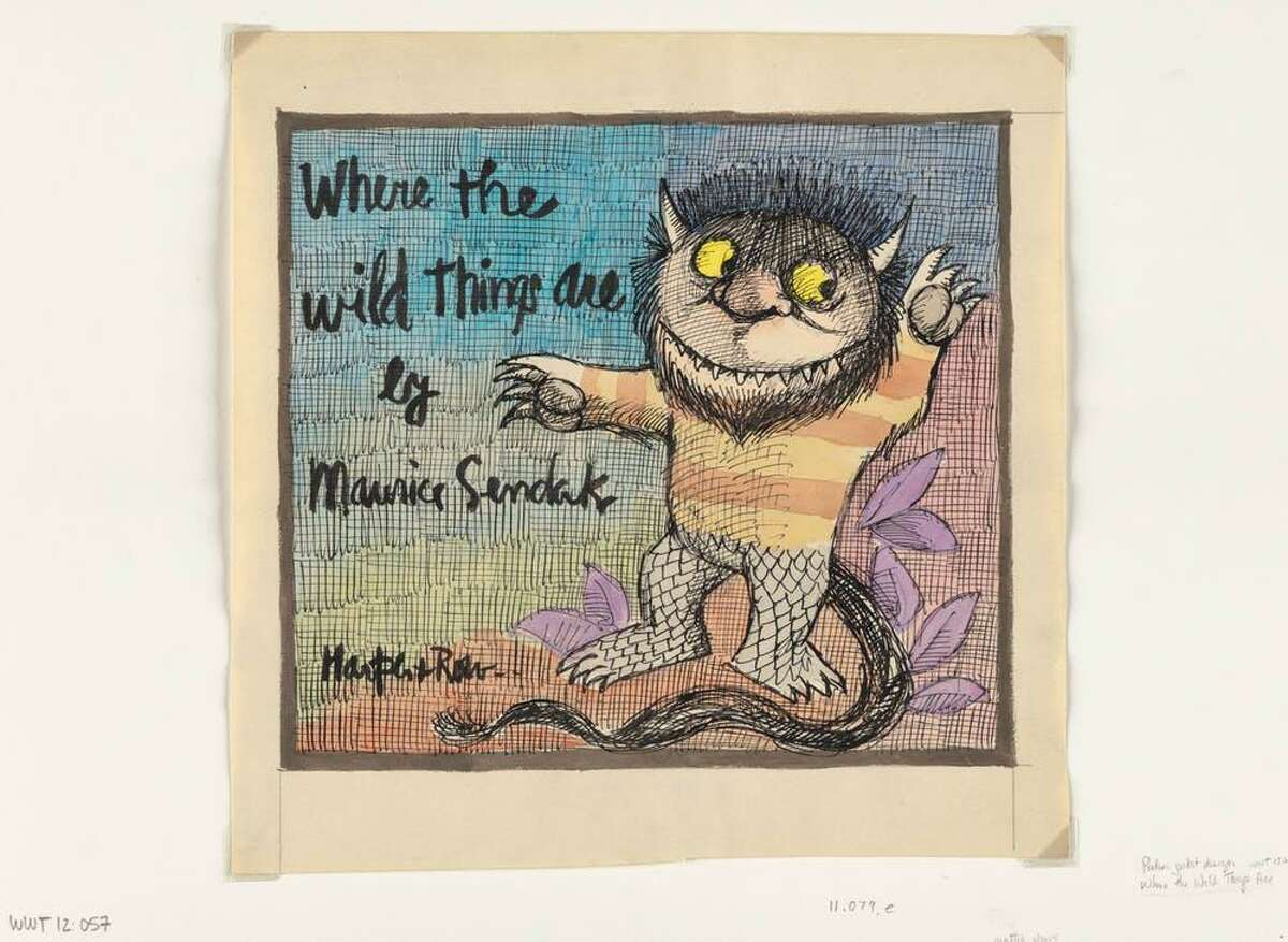Preliminary drawing of dust jacket for 'Where the Wild Things Are' (New York: Harper & Row, 1963), 26:2, The Maurice Sendak Collection. Archives & Special Collections at the Thomas J. Dodd Research Center, University of Connecticut Library. © The Maurice Sendak Foundation.