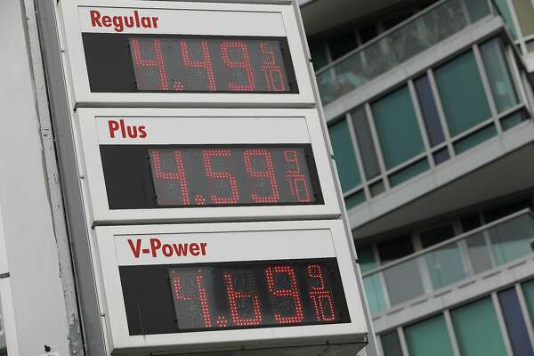 Gas prices are seen on a sign on Thursday, April 11, 2019 in San Francisco, Calif.