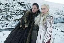 "Kit Harington, left, as Jon Snow and Emilia Clarke as Daenerys Targaryen in Season 8 of ""Game of Thrones."" MUST CREDIT: Helen Sloane, HBO"
