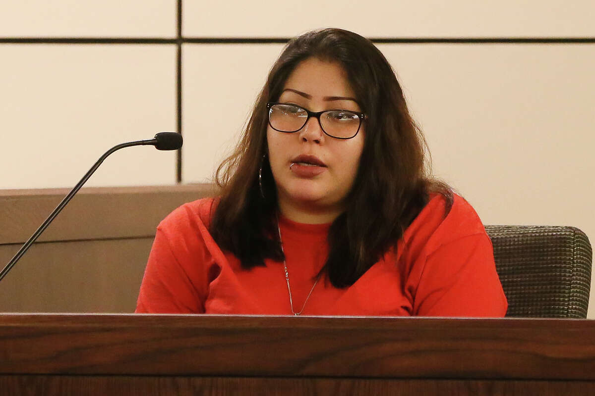Jasmine Gonzales, mother of deceased 8-month-old King Jay Davila, testifies in Christopher Davila's behalf in Magistrate Judge Andrew J. Carruthers court room in the Cadena Reeves Justice Center on Thursday, April 11, 2019. Davila, arrested for allegedly staging a fake kidnapping with the help of family to mislead investigators in the death of fKing Jay, was asking for bond reduction of his cumulative $1.25 million on four cases. Judge Carruthers denied bond reduction in all cases.