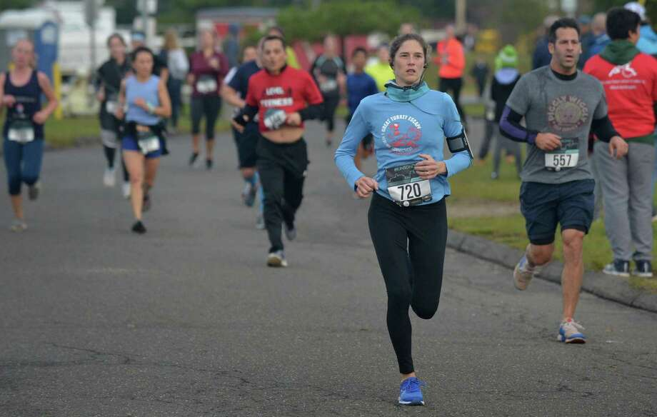 Participants compete in the SoNo Half Marathon and 5k in October 2018. Photo: Erik Trautmann / Hearst Connecticut Media / Norwalk Hour