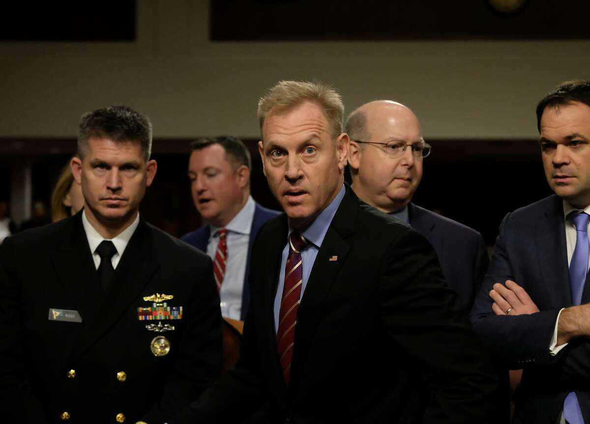 WASHINGTON, DC - APRIL 11: Patrick M. Shanahan, Acting U.S. Secretary of Defense, (center) is seen before a Senate Armed Services Committee hearing on April 11, 2019 in Washington, DC. The acting defense secretary is pitching the idea of creating a Space Force as a separate branch of the military to Congress. (Photo by Alex Wroblewski/Getty Images)