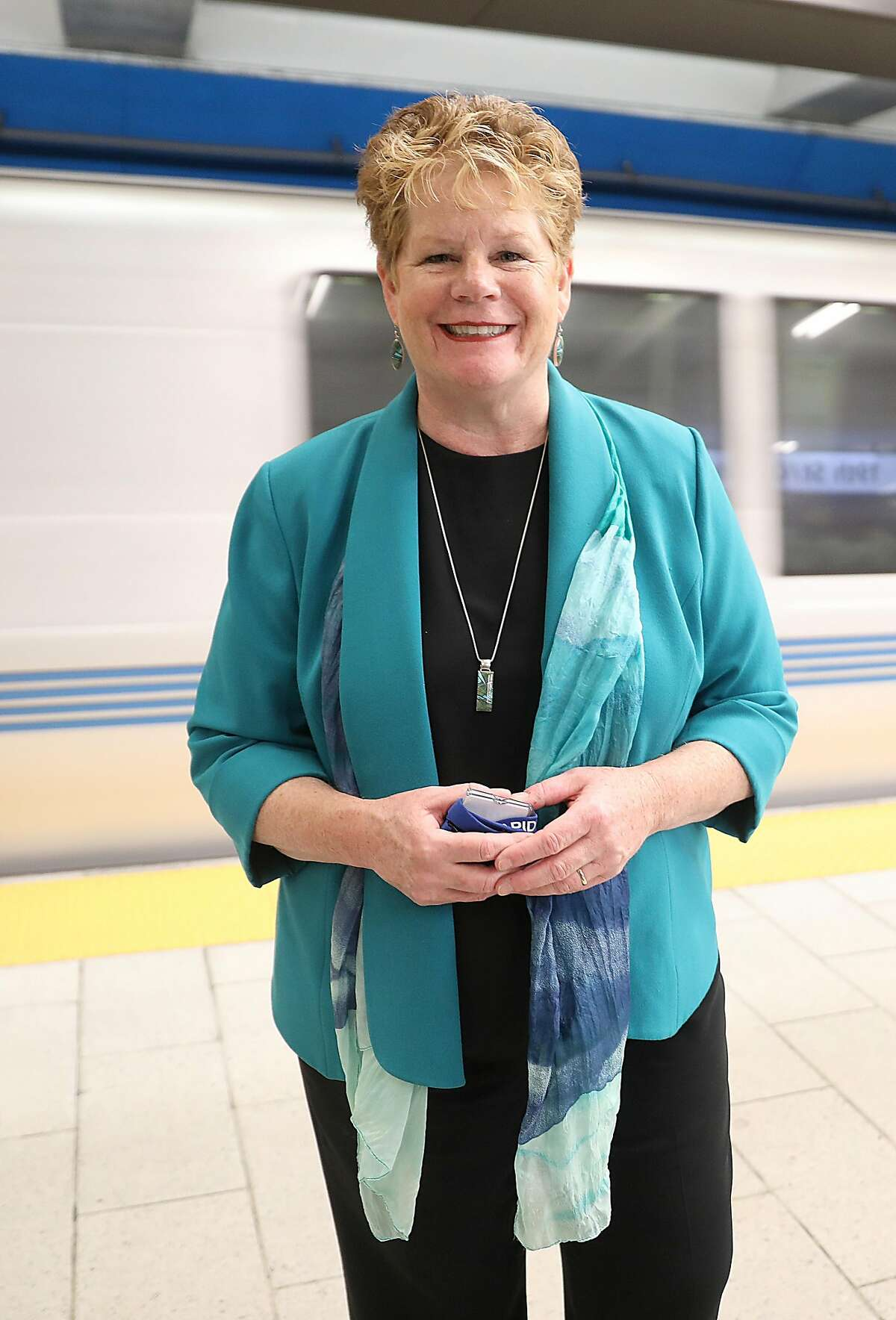 BART General Manager Grace Crunican stands on a platform at the 19th Street station on Friday, Nov. 2, 2018, in Oakland, Calif.