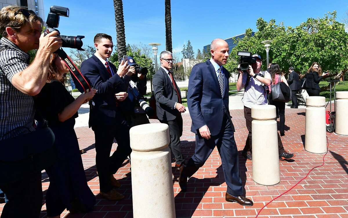 Michael Avenatti (C) leaves the Ronald Reagan Federal Courthouse in Santa Ana, California on April 1, 2019, following his appearance at a US District Court on a criminal complaint charging him with bank and wire fraud. (Photo by Frederic J. BROWN / AFP)FREDERIC J. BROWN/AFP/Getty Images