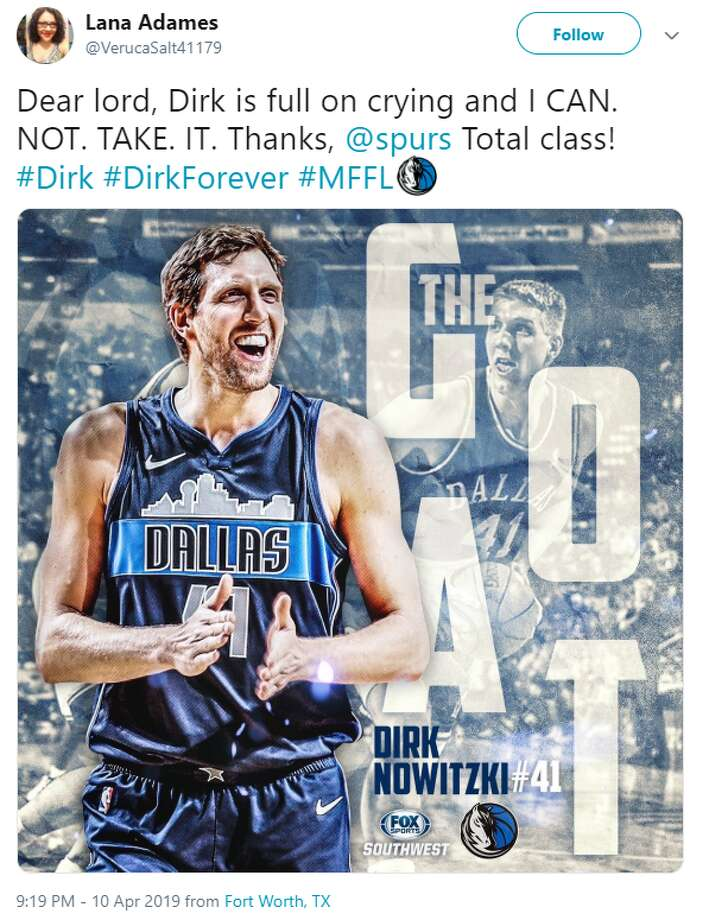 @VerucaSalt41179: Dear lord, Dirk is full on crying and I CAN. NOT. TAKE. IT. Thanks, @spurs Total class!  #Dirk #DirkForever #MFFL