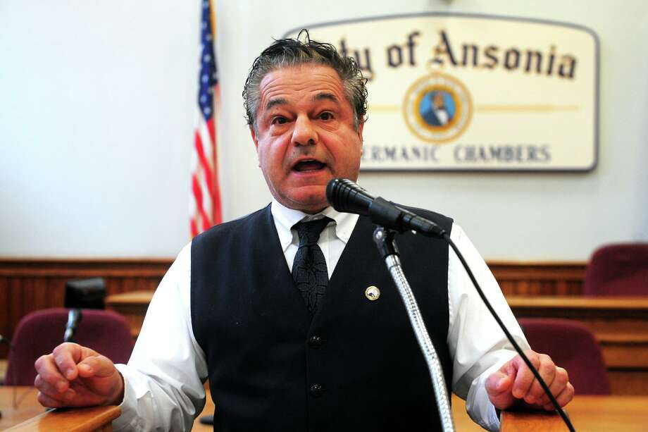 Mayor David Cassetti speaks during the swearing in ceremony for Andrew Cota, the City of Ansonia's new Police Chief, in Ansonia, Conn. Feb. 15, 2019. Photo: Ned Gerard / Hearst Connecticut Media / Connecticut Post
