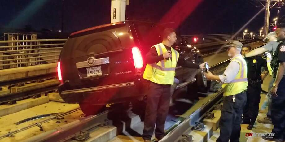 Jeanette Perez was accused of drunken driving Thursday after she drove onto the Metro rail tracks elevated above North Main, according to Metro spokeswoman Monica Russo. Photo: OnScene TV
