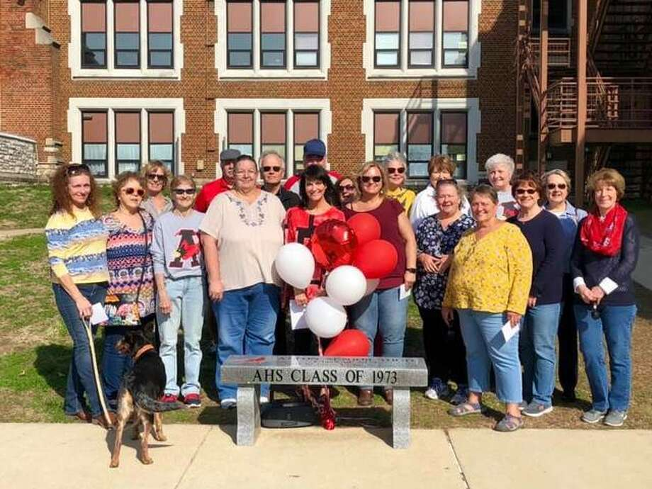 The Alton High School Class of 1973 on Saturday dedicated a decorative bench it had collectively purchased for the school, on College Avenue in Alton, which now serves as Alton Jr. High School. Several members of the class joined the event.