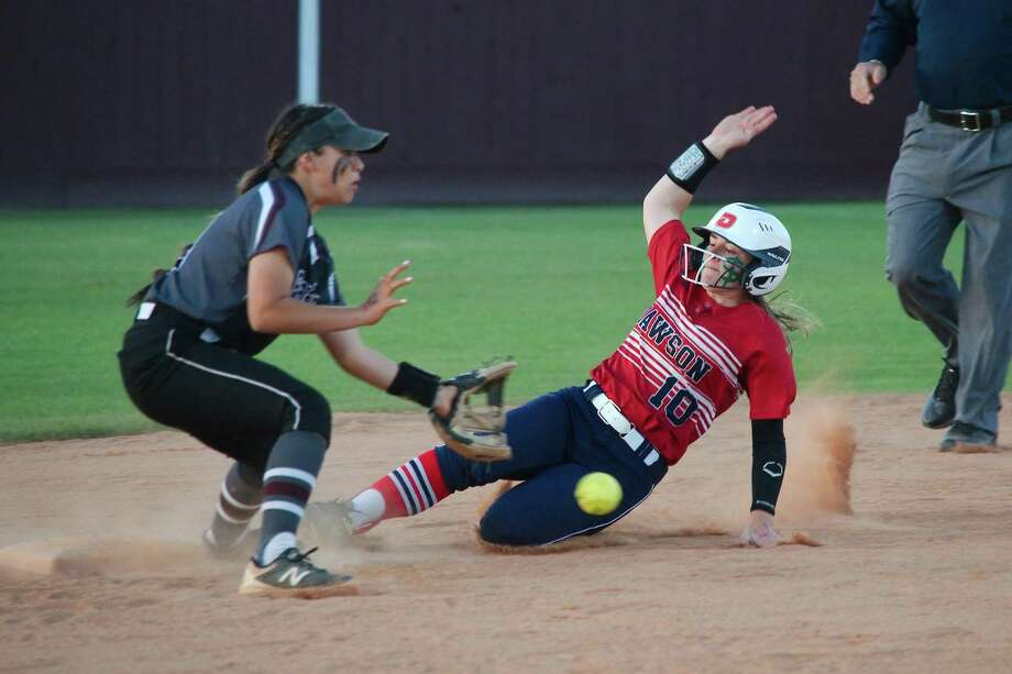 Dawson's Brooke Toler (10) slides to beat the throw to Pearland's Maddison Guillen (13) last week during the Lady Eagles' 9-1 softball victory. Photo: Kirk Sides / Staff Photographer / © 2019 Kirk Sides / Houston Chronicle