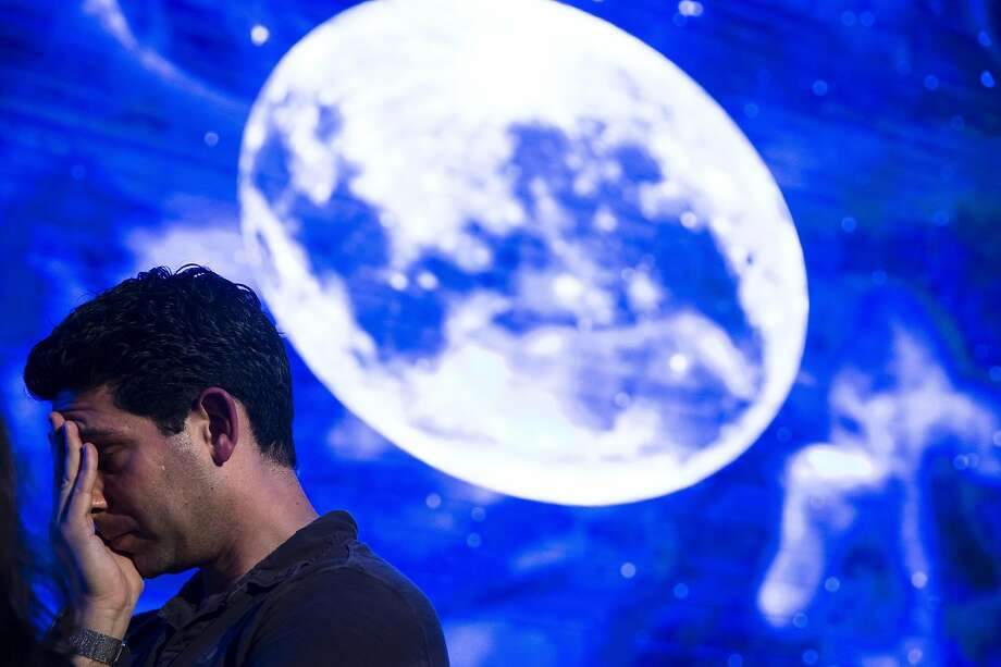 Tel Aviv, Israel - April 11: The Israeli man reacted after the Beresheet spacecraft had not landed safely on the Moon on April 11, 2019 in Tel Aviv, Israel. The Israeli spacecraft Beresheet, a joint project between SpaceIL, a privately funded Israeli nonprofit organization, and Israel Aerospace Industries were unable to reach the surface of the moon after the apparent failure of the main engine. (Photo: Amir Levy / Getty Images) Photo: Amir Levy, Getty Images