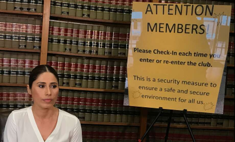 Maria Pelayo offered details of her lawsuit against 24 Hour Fitness, claiming someone filmed her while she showered at a Houston gym, at a news conference on Thursday, April 11, 2019. Photo: Michael Slaten