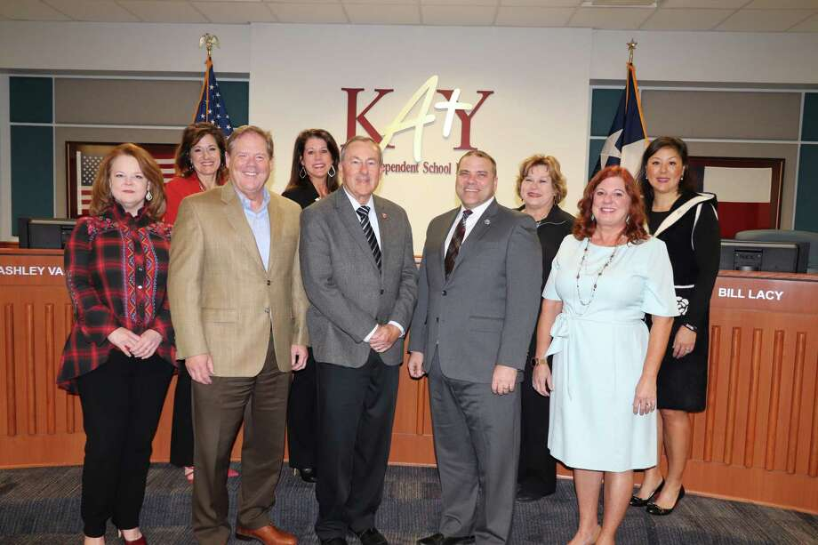 Pictured in front from left are Portia Willis, Houston Methodist Hospital; Randy Theilig, Members Choice Credit Union; Mayor Charles Brawner, city of Katy; Superintendent Ken Gregorski, Katy ISD; Shellye Carpenter, Brazos Valley Schools Credit Union; Back Row left to right: Yvonne Kershner, Brazos Valley Schools Credit Union; Christina Frith, Brazos Valley Schools Credit Union; and Caroline Champion, Houston Methodist Hospital. Photo: Courtesy Photo
