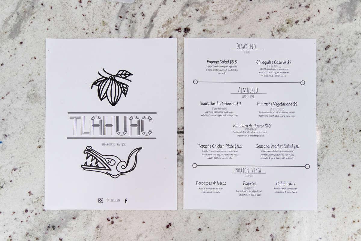 The menu at Tlahuac Greenway Plaza.
