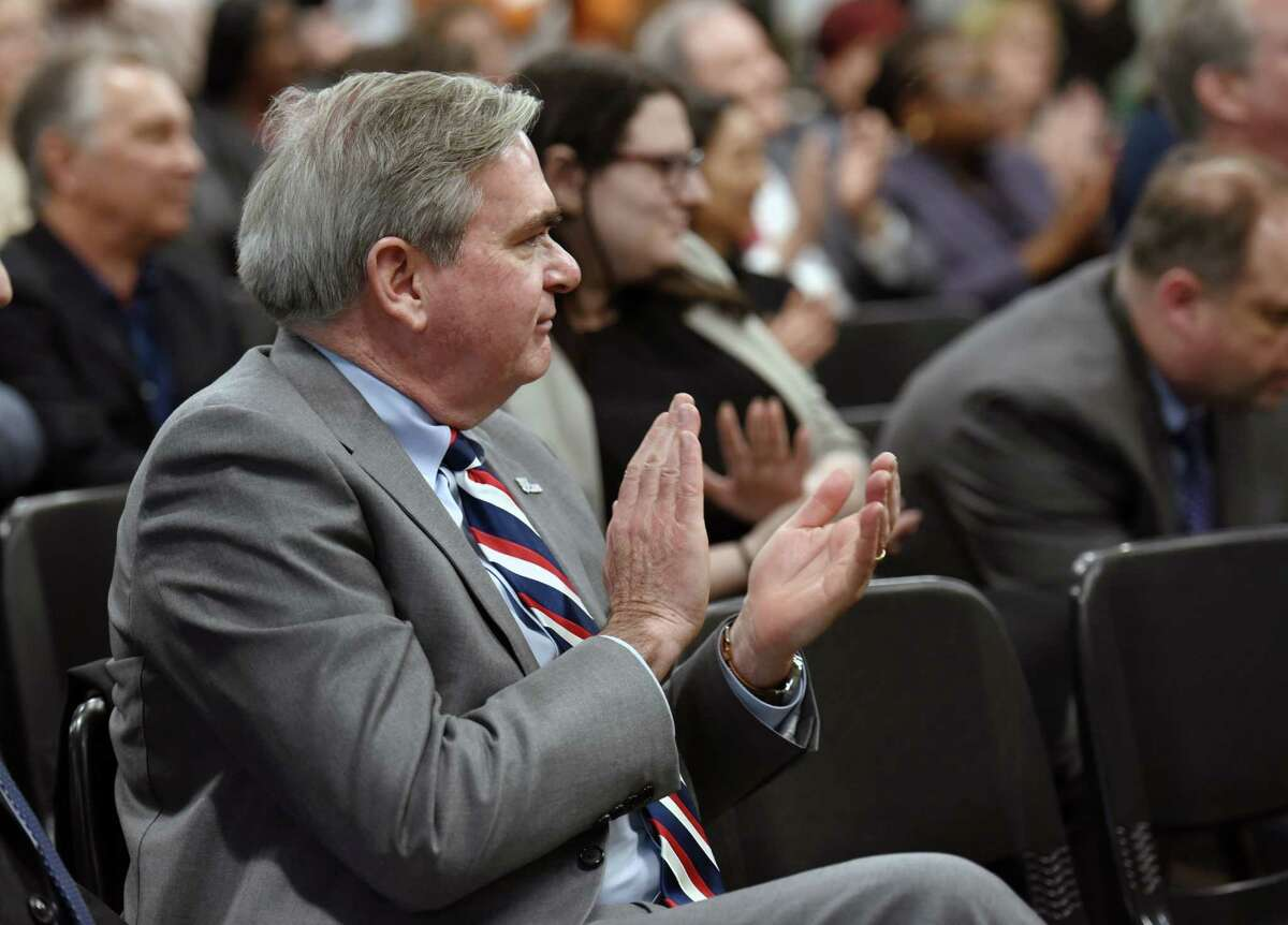 Schenectady Mayor Gary McCarthy applauds Executive Director Stuart Rosenblatt's speech during the 50th anniversary celebration of the New Choices Recovery Center on Wednesday, April 10, 2019 in Schenectady, NY. (Phoebe Sheehan/Times Union)