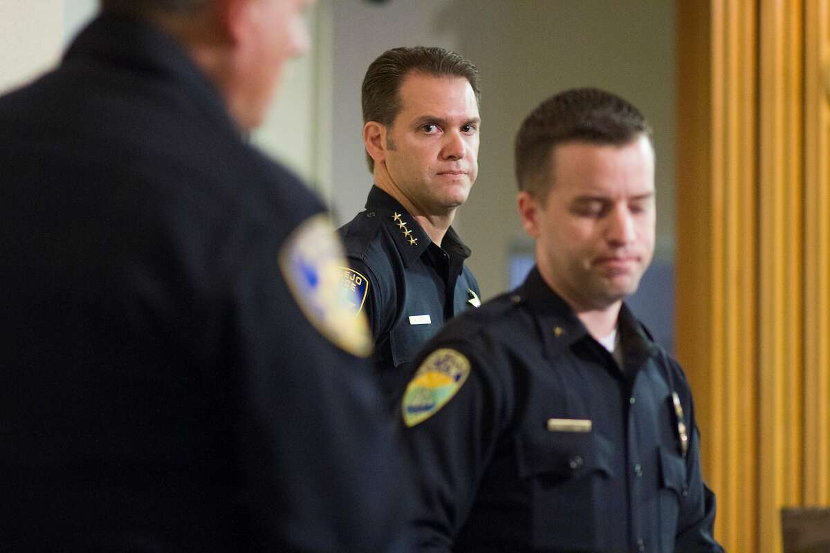 Vallejo Chief Andrew Bidou, center, and Suisun Police Commander Andrew White discuss the Sunday, Oct. 16 shooting shooting of Andrew Powell, 41, during a news conference at Vallejo City Hall on Monday, Oct. 17, 2016.