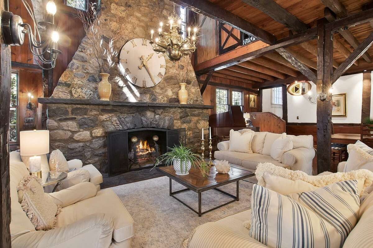 The three-story fireplace at 2 Bayberry Lane, Westport.
