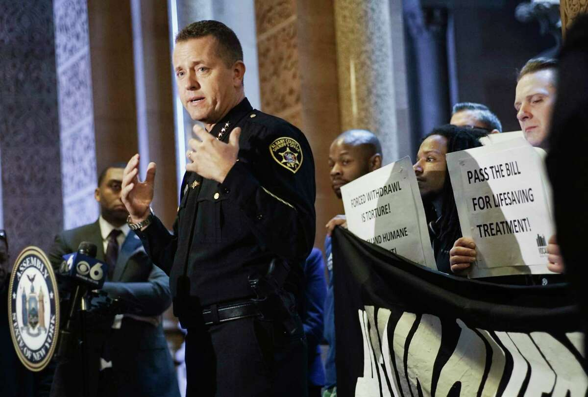 Albany County Sheriff Craig Apple addresses those gathered for a press event at the Capitol on Thursday, Feb. 28, 2019, in Albany, N.Y. Those attending the event called on legislators to pass the bill for lifesaving medication-assisted treatment in prisons and jails. (Paul Buckowski/Times Union)