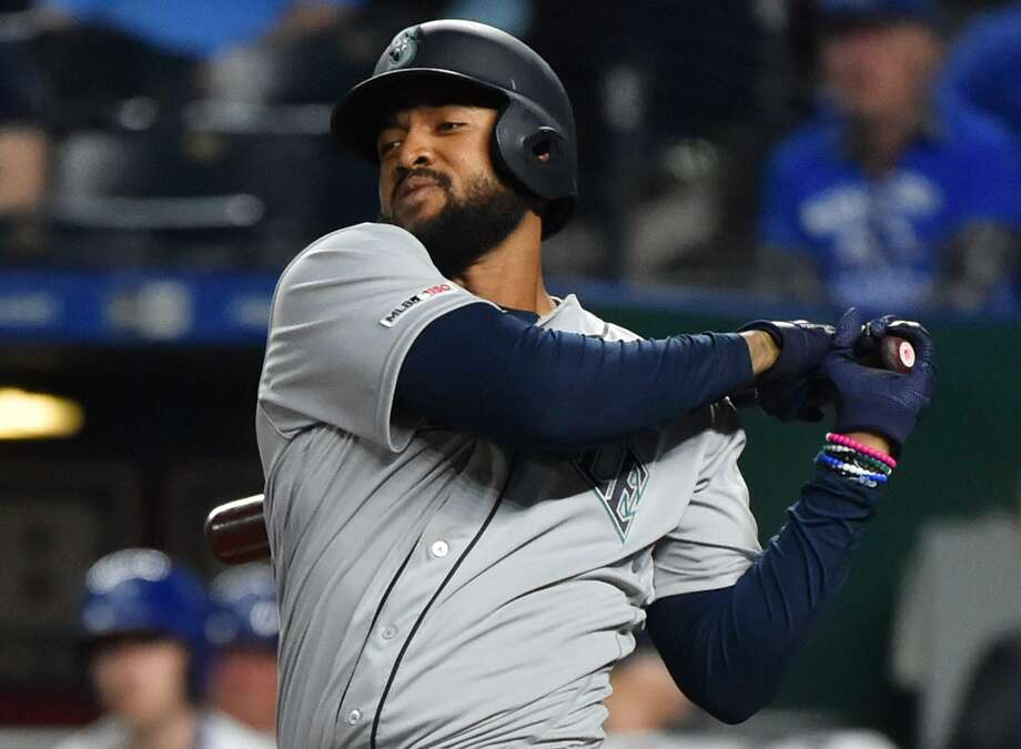 Mariners outfielder Domingo Santana, who played 20 games with the Astros in 2014-15, has 19 RBIs this season, giving him a share of the major league lead with the Dodgers' Cody Bellinger. Photo: Ed Zurga, Stringer / Getty Images / 2019 Getty Images