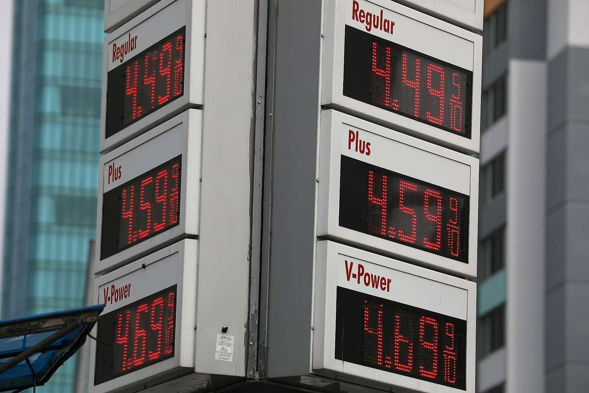 Gas prices are seen on signs on Thursday, April 11, 2019 in San Francisco, Calif.
