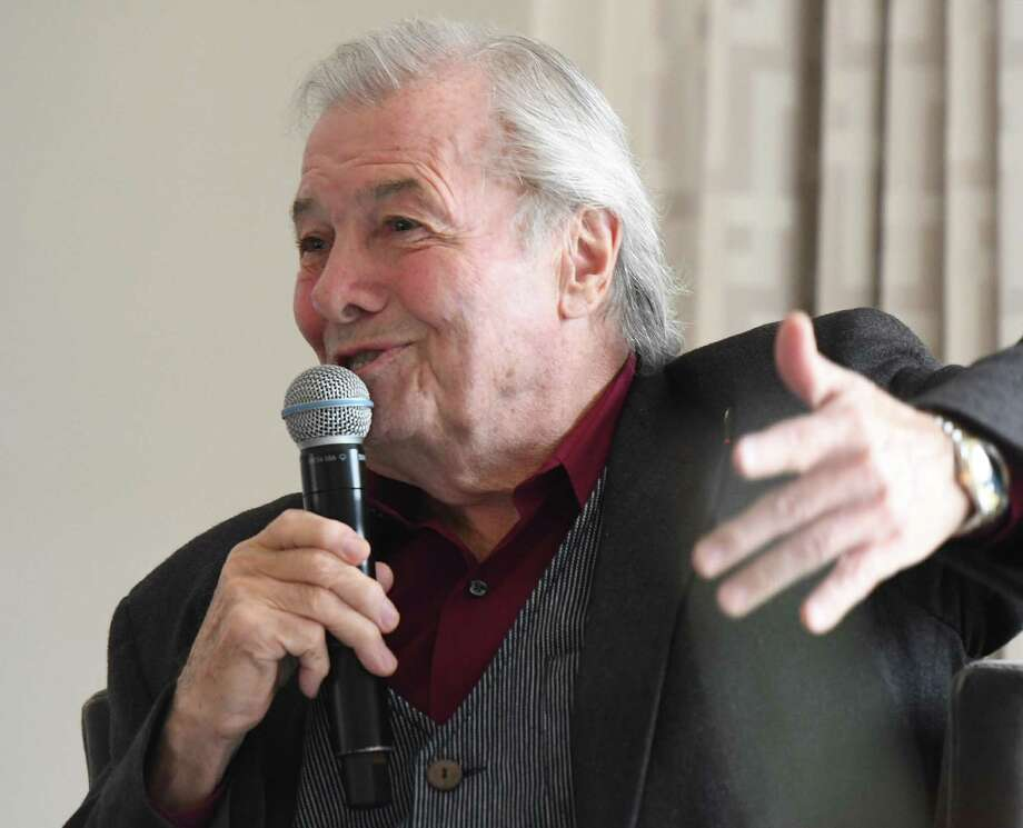 "Celebrity chef Jacques Pépin speaks at Neighbor to Neighbor's Spring Luncheon at Burning Tree Country Club in Greenwich, Conn. Thursday, April 11, 2019. Chef Pépin, the winner of 16 James Beard Awards and author of 29 cookbooks, spoke with Aux Delices owner Debra Ponzek and signed copies of his most recent cookbook ""Poulets & Legumes."" The event raised money for Greenwich-based charity Neighbor to Neighbor, which last year supplied approximately 360,000 meals and 19,000 bags of clothing and household items to more than 5,000 local residents. Photo: Tyler Sizemore / Hearst Connecticut Media / Greenwich Time"